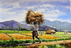 Buy Harvest painting online - the original artwork by artist Sunil Linus De, exclusively available at Mojarto only. Watercolor Paintings Nature, Oil Pastel Paintings, Indian Art Paintings, Watercolor Portraits, Painting Flowers, Painting Tips, Abstract Paintings, Painting Art, Village Photography