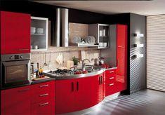 Кухня красно-черная. Фото 1