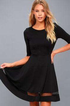 4699b6d20f4d Sheer Factor Black Mesh Skater Dress Mesh Dress, Black Bodycon Dress, Lace  Dress Black