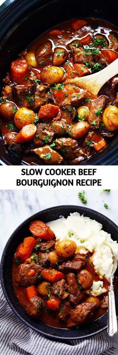 Slow Cooker Beef Bourguignon has crazy tender melt in your mouth beef and hearty veggies slow cooked to perfection in a rich sauce. This meal is comforting and perfect for the cold months ahead! Slow Cooker Beef, Slow Cooker Recipes, Crockpot Recipes, Cooking Recipes, Cooking Wine, Crock Pot Cooking, Bourguignon Recipe, Crockpot Dishes, Instant Pot Pressure Cooker