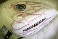 Nice Tank For A Motorized Bike. Tribal Ghost Flames over Pearl White on Harley Sportster Peanut Tank Custom Paint Motorcycle, White Motorcycle, Motorcycle Tank, Air Brush Painting, Car Painting, Harley Davidson Sportster, Motorcycle Hairstyles, Custom Tanks, Helmet Paint