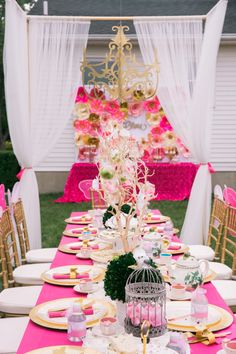 Gorgeous party table with a view of the cake table, flanked with chiavari chairs in this Garden Tea Party at Kara's Party Ideas. Birthday Table Decorations, Party Table Decorations, Party Themes, Party Ideas, Event Themes, Decoration Party, Tea Party Attire, Adult Birthday Party, Birthday Ideas