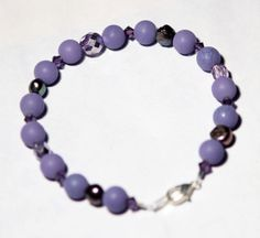 Bracelet with Earrings  Matched Set  Purple Beaded  by kidalia