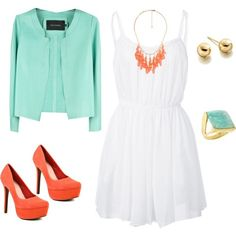 Fashion is my life! / ~Coral and Mint Dress Outfit~ - Polyvore