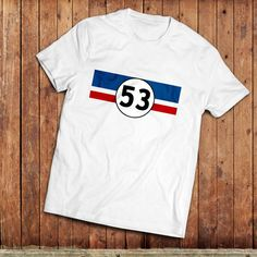 Herbie 53 T-Shirt, Volswagen Beetle, Love bug classic movie inspired Tee