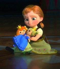 Frozen, little kid Anna playing with dolls that look like her and Elsa in the song Do you want to build a snowman Walt Disney, Frozen Disney, Disney Pixar, Frozen And Tangled, Frozen Movie, Best Disney Movies, Anna Frozen, Cute Disney, Disney And Dreamworks