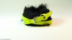 Vivid Individuals  Yellow neon belt bracelet with black fur.  OstertagART@gmail.com