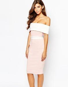 Vesper Off Shoulder Pencil Dress In Contrast