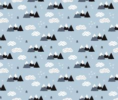 Cool scandinavian winter wonder woodland theme with clouds arrows and mountain peak snow theme fabric by littlesmilemakers on Spoonflower - custom fabric