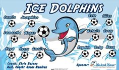 Ice Dolphins B53599-F  digitally printed vinyl soccer sports team banner. Made in the USA and shipped fast by BannersUSA.  You can easily create a similar banner using our Live Designer where you can manipulate ALL of the elements of ANY template.  You can change colors, add/change/remove text and graphics and resize the elements of your design, making it completely your own creation.