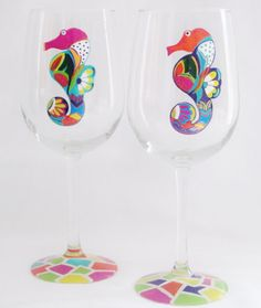 Hand Painted Set Of 2 Seahorses Wine Glasses by by MimossaStudio