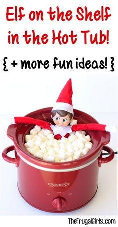 Elf on the Shelf in the Hot Tub... what better way to relax after a hard day?  Plus find many more FUN Christmas Elf on the Shelf ideas at TheFrugalGirls.com