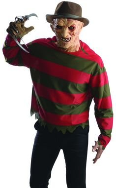 rubies mens nightmare on elm st freddy krueger shirt mask halloween costume - Freddy Krueger Halloween Decorations