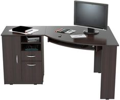 INVAL Corner Computer Desk finished in Espresso-Wengue laminates. Executed in solid composite wood, double laminated durable melamine which is stain, heat and scratch resistant. This corner computer desk has a large work surface making it a perfect a Computer Desk With Shelves, Big Desk, Desk Shelves, Shelf, L Shaped Executive Desk, Wood Writing Desk, Engineered Wood, Architecture, Decoration