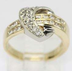 Diamond heart ring 14K 2 tone gold round brilliant .40CT!