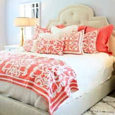 Coral  & beige love this color combination!! Guest bedroom!?!?