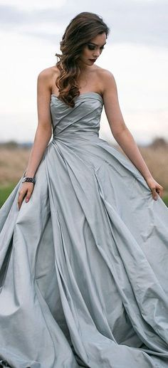 These blue wedding gowns will have you re-thinking traditional styles and have you renewing your vows in a super fashion-forward and whimsical way. From ball gowns to romantic designs, take a peek at more of these romantic designs. Gray Weddings, Blue Wedding, Summer Wedding, Evening Dresses, Prom Dresses, Formal Dresses, Bridesmaid Gowns, Layered Dresses, Bridal Gowns