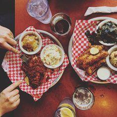4th of July feast @rockyshotchickenshack #foodie #avleats #avlfoodie #asheville #southernfood #feast #celebrate #friedchicken #cornbreadpudding  #foodstagram #instaeats #yumyum #rockyshotchickenshack #828isgreat