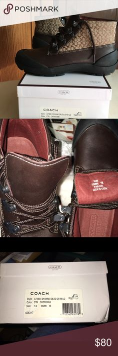 Womens' Coach leather boots Just in time for fall/ winter! Too small for me but great for you! Size 7 Med width. Box included. Coach Shoes Winter & Rain Boots