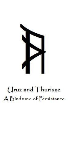 This is a binding of two runes from the Norse Elder FuThark, the runes Uruz and Thurisaz. Uruz stood for the untamed power of wild Aurochs, the strength. Bindrune Series part II Rune Symbols And Meanings, Magic Symbols, Viking Symbols, Norse Runes, Viking Runes, Norse Mythology, Rune Tattoo, Norse Tattoo, Icelandic Runes