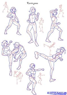 How to Draw Fighting poses, Step by Step, Figures, People, FREE Online ...
