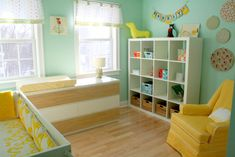 Nursery ideas: I like the Ikea dresser with change table on top, and the bookcase with odds and ends tucked inside.
