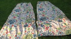 Fab 1940s Curtain Panels Sweet French Country Chic Bark Cloth Era Floral  N Brite