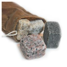 Granite Whiskey Rock Set by Greyslater ...  Made from waste granite left over from countertop production, they'll keep your drink cool - and can be used again & again!