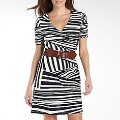Belted Stripe Dress with Ruched Sleeves - jcpenney