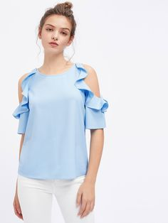 Blouses by BORNTOWEAR. Flounce Open Shoulder Top