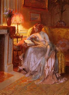 Reading by Lamplight by Delphin Enjolras