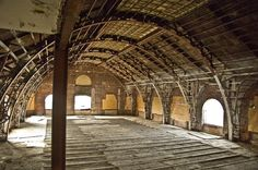 stripped out ballroom on the top floor of the Divine Lorraine in Philadelphia Derelict Places, Abandoned Places, Architecture Plan, Beautiful Architecture, Beautiful Ruins, Beautiful Places, Creepy Houses, The Revenant, Abandoned Buildings
