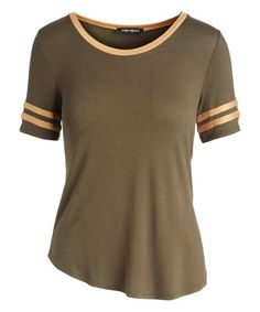Hippie Chic Olive & Golden Oak Stripe-Sleeve Ringer Tee - Women | Zulily