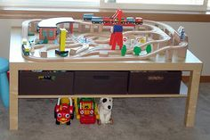 Use Ikea's Lack coffee table for a train table. This link has good reviews of a few of the train set makers.