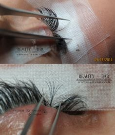 Difference in application of classic individual set and volume individual 6D set. Volume sets are great if you want to go for extra volume or if you don't have many natural lashes to make your extensions look full. Lashes used for volume are still individual (not clusters) and they are super fine ( on the top picture lashes used 0.15mm thickness, bottom picture volume set-superfine 0.06mm thickness)