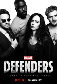 The Defenders(2017),a Marvel NetFlex series featuring the Marvel characters Matt Murdock(Daredevil), Luke Cage(Power Man), Jessica Jones(Blue Diamond), and Danny Rand(Iron Fist).
