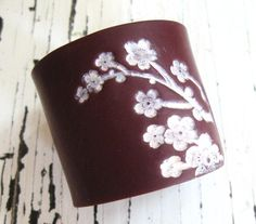 Huge SALE Deep Crimson Cuff Bracelet Asian Pink Floral Blossoms, Jewelry by theshagbag