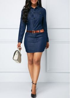 Bodycon Dresses Denim Blue Button Up Long Sleeve Sheath Dress Best African Dresses, African Fashion Dresses, Look Camisa Jeans, Casual Wedding Guest Dresses, Denim Fashion, Fashion Outfits, Blue Jean Dress, Denim Outfit, Latest Fashion For Women