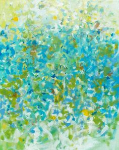 "September by Jessica Torrant - Abstract painting, acrylic on 16"" x 20"" canvas. Turquoise, teal, green, yellow."