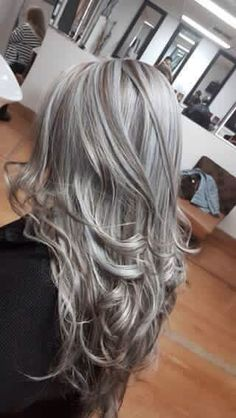 Love the dark foiled in with the blonde - All For Hair Cutes Grey Curly Hair, Long Gray Hair, Silver Grey Hair, Ash Blonde Hair, Curly Hair Styles, Long Curly, Frosted Hair, Gray Hair Highlights, Ombre Hair
