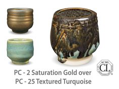 AMACO Potter's Choice layered glazes PC - 25 Textured Turquoise and PC - 2 Saturation Gold.
