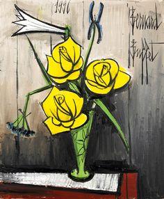 Vase avec roses jaunes