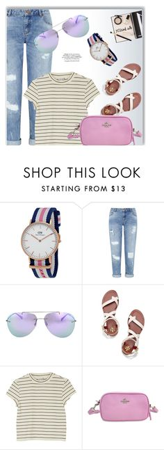 """""""Outfit Of The Day"""" by jomashop ❤ liked on Polyvore featuring Daniel Wellington, Miss Selfridge, Prada, Tory Burch, Monki, Pink and Blue"""