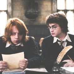 "Schools are the same all over. Ron's like ""What the Acromantula is this shit"" and Harry's all ""Hey dude can I look at your work?"""