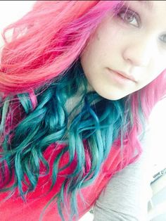 Pink blue dyed hair