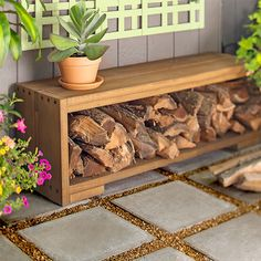 Outdoor bench with firewood storage