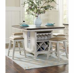 Avalon - Mystic Cay Kitchen Island With 6 Backless Stools…