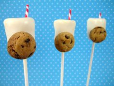 Milk and Cookies cake pops made from white tim tam truffles