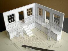 in scale white card modelwhite card model Design Set, Set Design Theatre, Stage Design, Design Model, Architecture Model Making, Architecture Design, Model Building, 3d Models, Scale Models