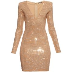 Balmain Long-sleeved glass stone-embellished dress (€2.580) ❤ liked on Polyvore featuring dresses, balmain, vestidos, gold, long sleeve party dresses, long sleeve cocktail party dress, long sleeve cocktail dresses, long sleeve dress and balmain dress